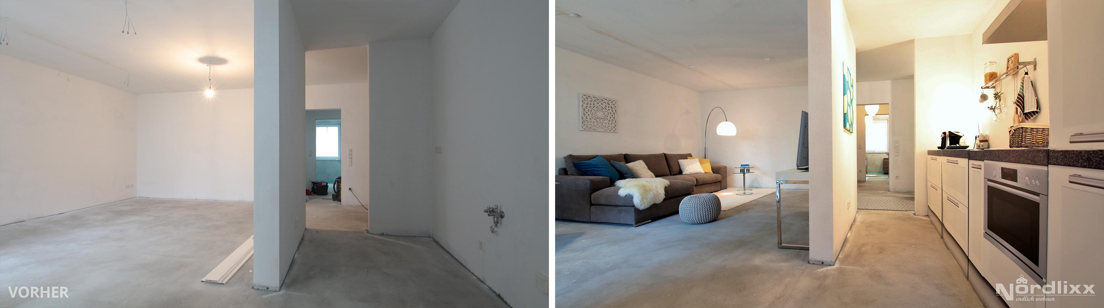 home staging nordlixx vorher nachher rohbau wohnen nordlixx endlich wohnen. Black Bedroom Furniture Sets. Home Design Ideas