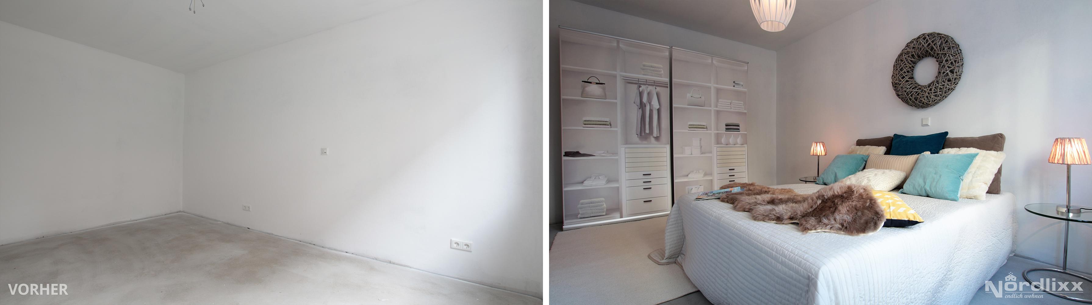 Home Staging Nordlixx vorher-nachher Rohbau Schlafzimmer - NORDLIXX ...